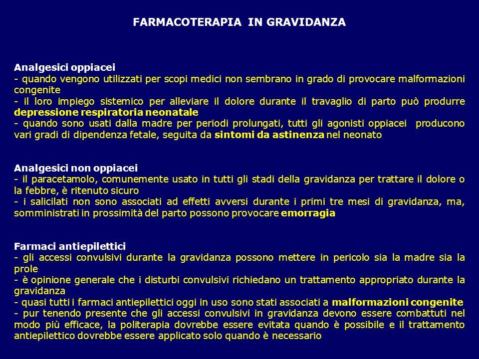 FARMACOTERAPIA IN GRAVIDANZA Analgesici oppiacei - quando vengono utilizzati per scopi medici non sembrano in grado di provocare malformazioni congeni