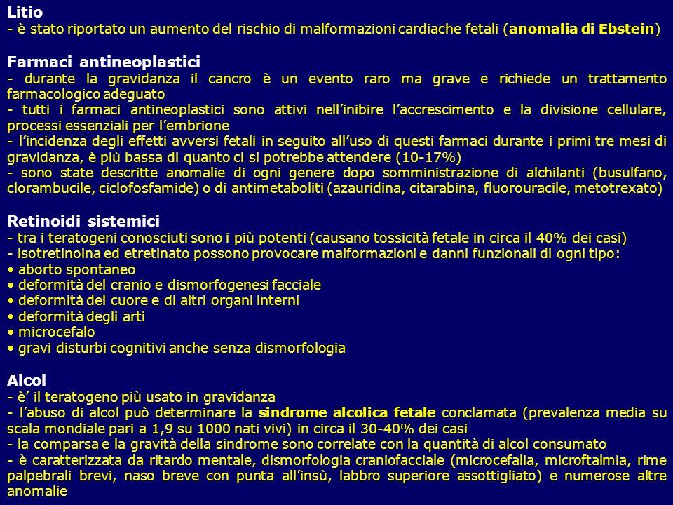 Litio - è stato riportato un aumento del rischio di malformazioni cardiache fetali (anomalia di Ebstein) Farmaci antineoplastici - durante la gravidan