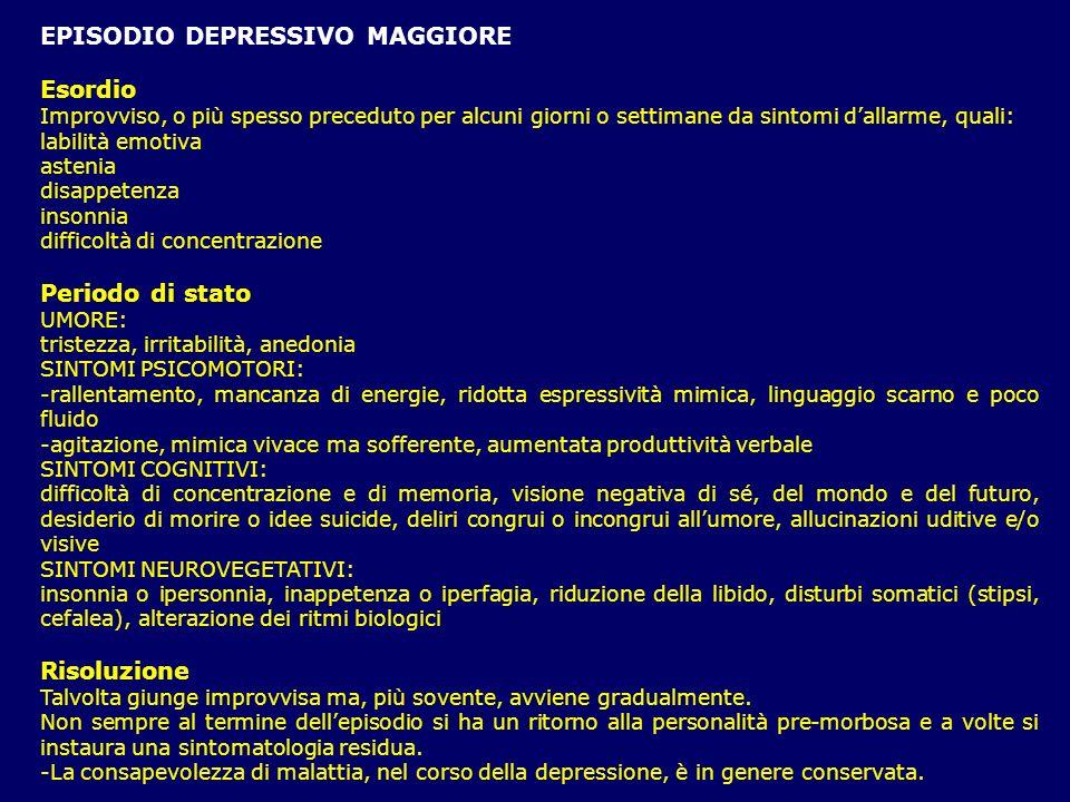 EPISODIO DEPRESSIVO MAGGIORE Esordio Improvviso, o più spesso preceduto per alcuni giorni o settimane da sintomi dallarme, quali: labilità emotiva ast