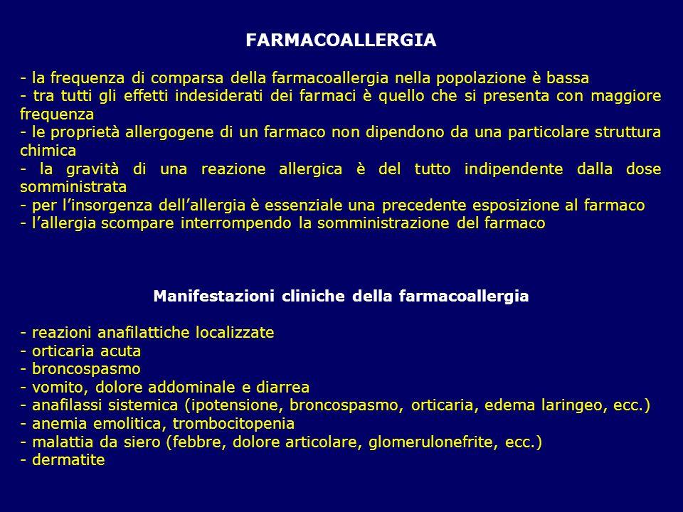 FARMACOALLERGIA - la frequenza di comparsa della farmacoallergia nella popolazione è bassa - tra tutti gli effetti indesiderati dei farmaci è quello c