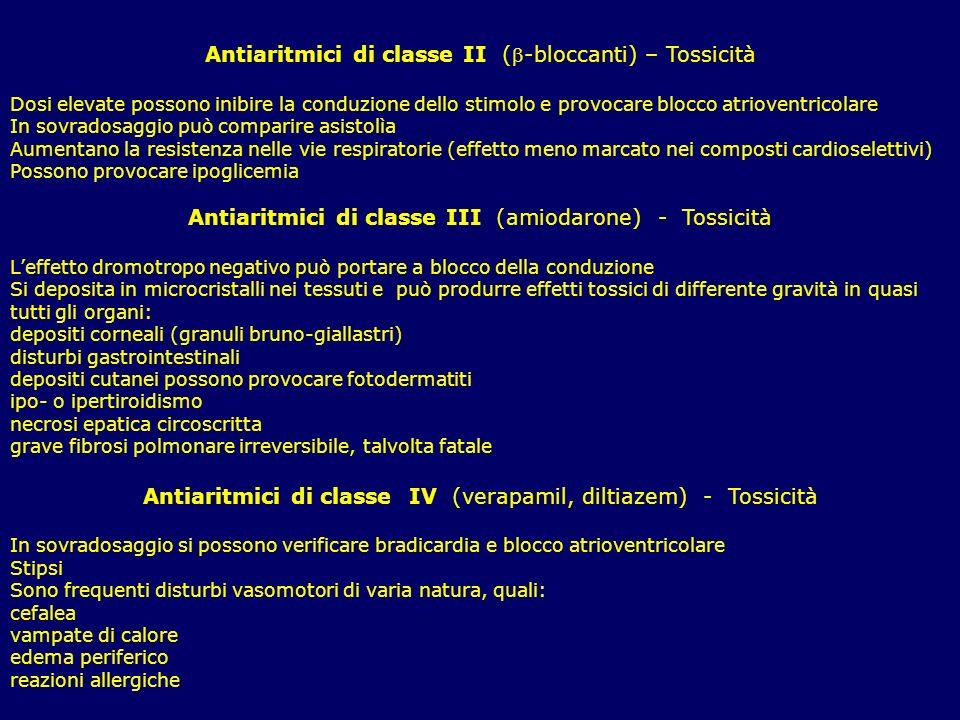 Antiaritmici di classe II (-bloccanti) – Tossicità Dosi elevate possono inibire la conduzione dello stimolo e provocare blocco atrioventricolare In so