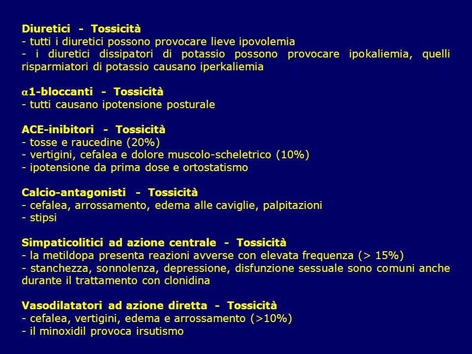 Diuretici - Tossicità - tutti i diuretici possono provocare lieve ipovolemia - i diuretici dissipatori di potassio possono provocare ipokaliemia, quel