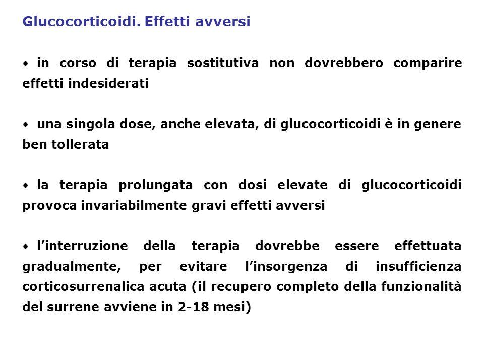 Glucocorticoidi. Effetti avversi in corso di terapia sostitutiva non dovrebbero comparire effetti indesiderati una singola dose, anche elevata, di glu