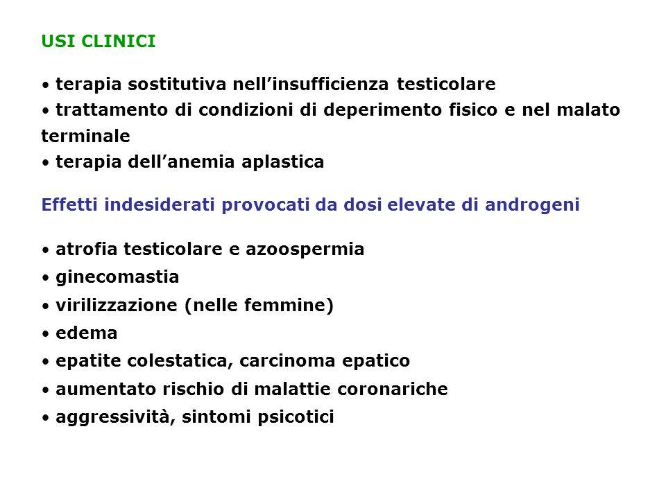 USI CLINICI terapia sostitutiva nellinsufficienza testicolare trattamento di condizioni di deperimento fisico e nel malato terminale terapia dellanemi