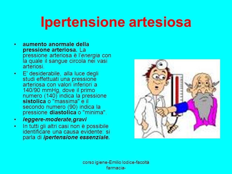 corso igiene-Emilio Iodice-facoltà farmacia- Ipertensione artesiosa aumento anormale della pressione arteriosa. La pressione arteriosa è lenergia con