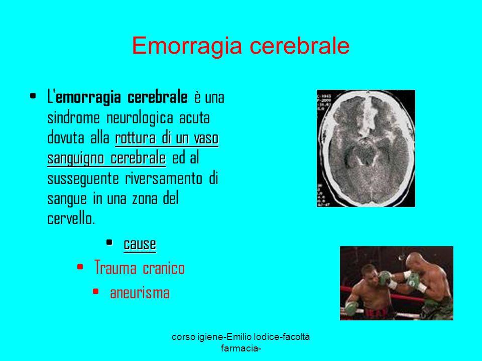 corso igiene-Emilio Iodice-facoltà farmacia- Emorragia cerebrale rottura di un vaso sanguigno cerebraleL' emorragia cerebrale è una sindrome neurologi