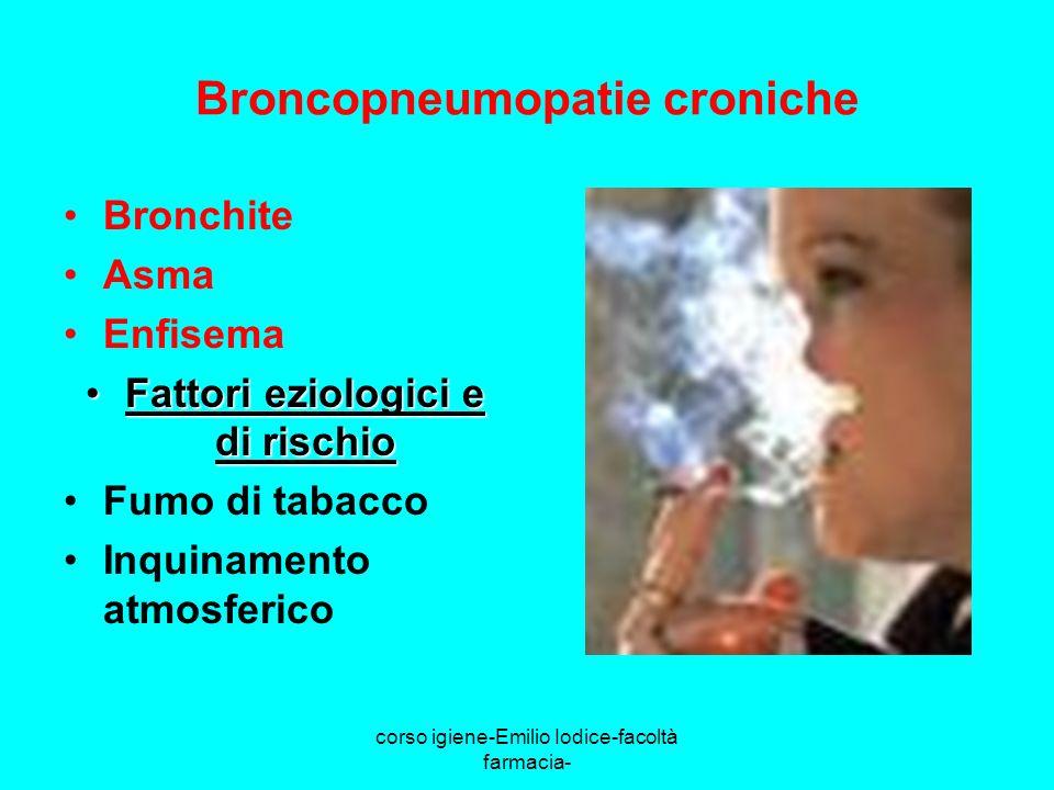 corso igiene-Emilio Iodice-facoltà farmacia- Broncopneumopatie croniche Bronchite Asma Enfisema Fattori eziologici e di rischioFattori eziologici e di