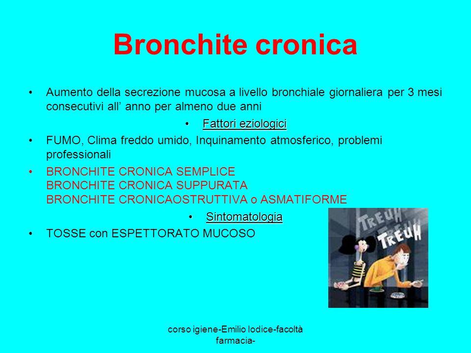 corso igiene-Emilio Iodice-facoltà farmacia- Bronchite cronica Aumento della secrezione mucosa a livello bronchiale giornaliera per 3 mesi consecutivi