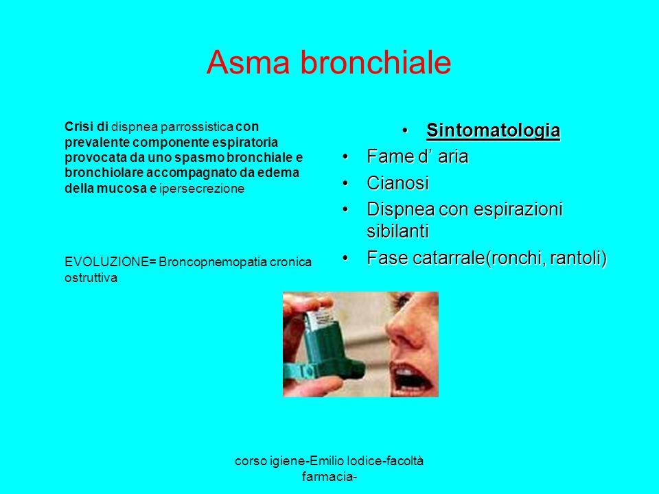 corso igiene-Emilio Iodice-facoltà farmacia- Asma bronchiale Crisi di dispnea parrossistica con prevalente componente espiratoria provocata da uno spa