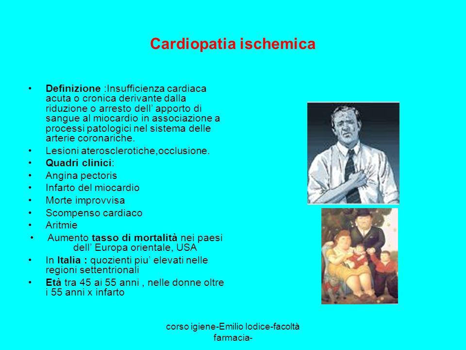 corso igiene-Emilio Iodice-facoltà farmacia- Cardiopatia ischemica Definizione :Insufficienza cardiaca acuta o cronica derivante dalla riduzione o arr