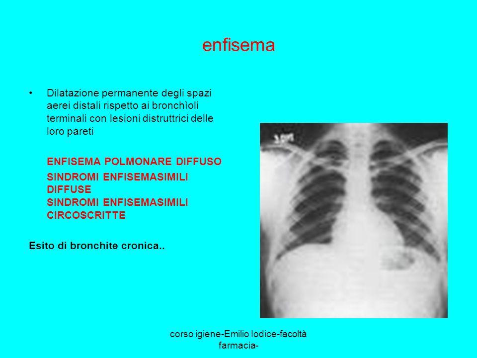 corso igiene-Emilio Iodice-facoltà farmacia- enfisema Dilatazione permanente degli spazi aerei distali rispetto ai bronchìoli terminali con lesioni di