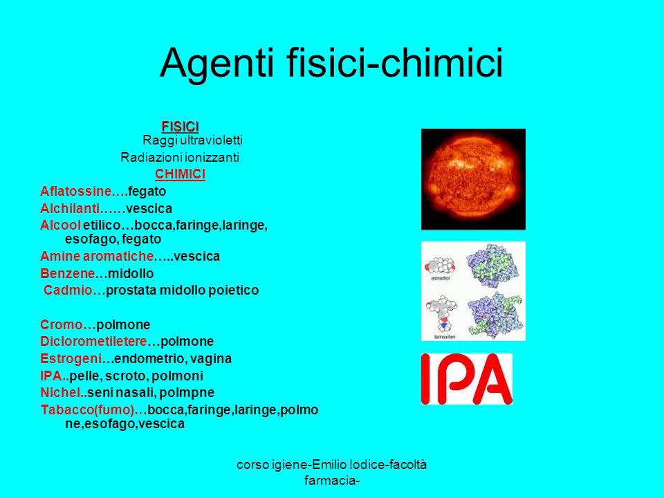 corso igiene-Emilio Iodice-facoltà farmacia- Agenti fisici-chimici FISICI FISICI Raggi ultravioletti Radiazioni ionizzanti CHIMICI Aflatossine….fegato