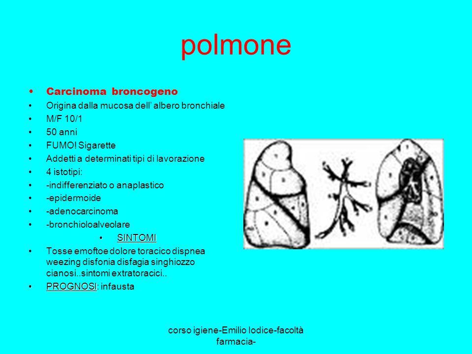 corso igiene-Emilio Iodice-facoltà farmacia- polmone Carcinoma broncogeno Origina dalla mucosa dell albero bronchiale M/F 10/1 50 anni FUMO! Sigarette