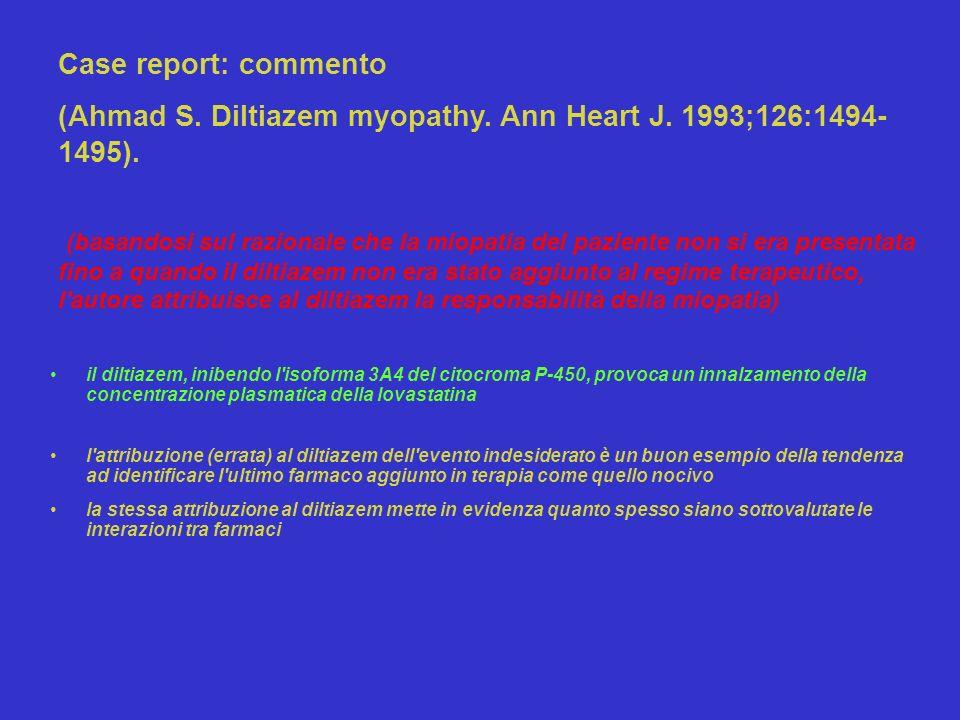 il diltiazem, inibendo l'isoforma 3A4 del citocroma P-450, provoca un innalzamento della concentrazione plasmatica della lovastatina l'attribuzione (e