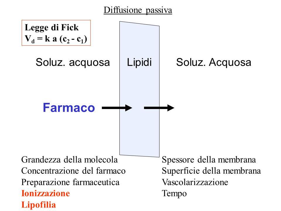LipidiSoluz. acquosaSoluz. Acquosa Farmaco Diffusione passiva Grandezza della molecolaSpessore della membrana Concentrazione del farmacoSuperficie del