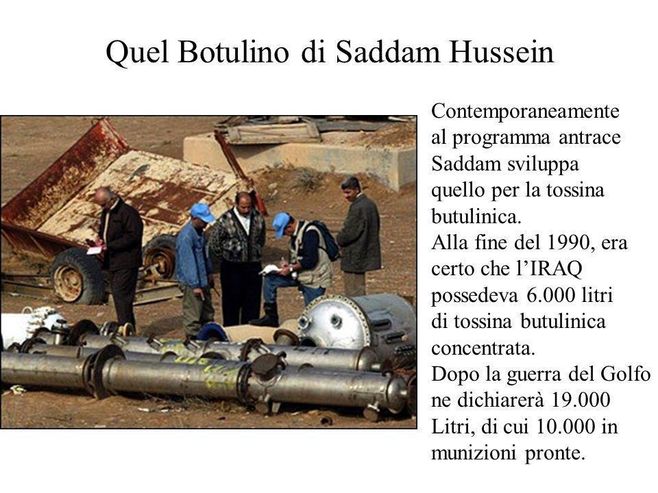 Quel Botulino di Saddam Hussein Contemporaneamente al programma antrace Saddam sviluppa quello per la tossina butulinica.