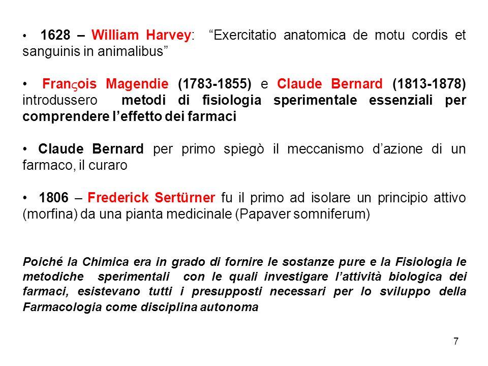 7 1628 – William Harvey: Exercitatio anatomica de motu cordis et sanguinis in animalibus Fran ois Magendie (1783-1855) e Claude Bernard (1813-1878) in