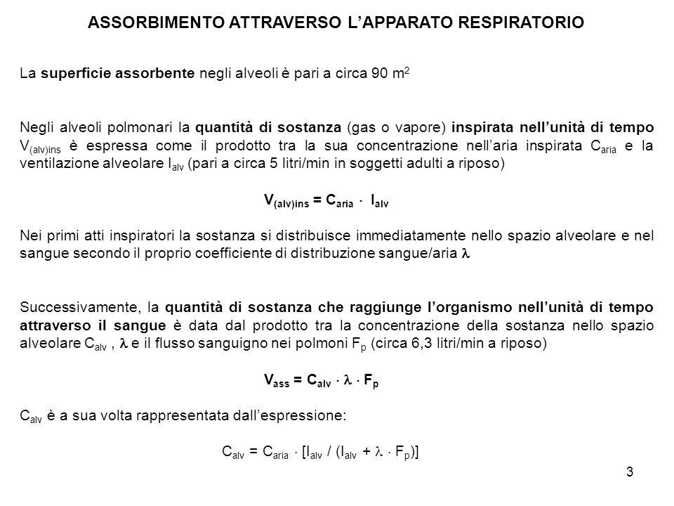 4 ASSORBIMENTO ATTRAVERSO LA PELLE La superficie assorbente della pelle (nelladulto) è circa 1,7 m 2 La velocità di assorbimento attraverso la pelle può essere descritta come il prodotto tra la differenza di concentrazione della sostanza sui due lati della cute C s e la costante di permeabilità della sostanza stessa k p J = k p C s J = quantità di sostanza che permea la cute per unità di superficie e di tempo [dimensioni: quantità /(superficie tempo)] K p = costante di permeabilità (dimensioni: lunghezza/tempo) C s = differenza di concentrazione della sostanza sui due lati della cute (dimensioni: quantità/volume) Poiché la concentrazione sottocutanea è piccola, la relazione si riduce a: J = k p C s(est) La diffusione attraverso la pelle può avvenire: - per passaggio attraverso le cellule (transcellulare), tra cellule contigue (intercellulare), nei canali delle ghiandole sudoripare e sebacee (transghiandolare) e attraverso il follicolo pilifero (transfollicolare)