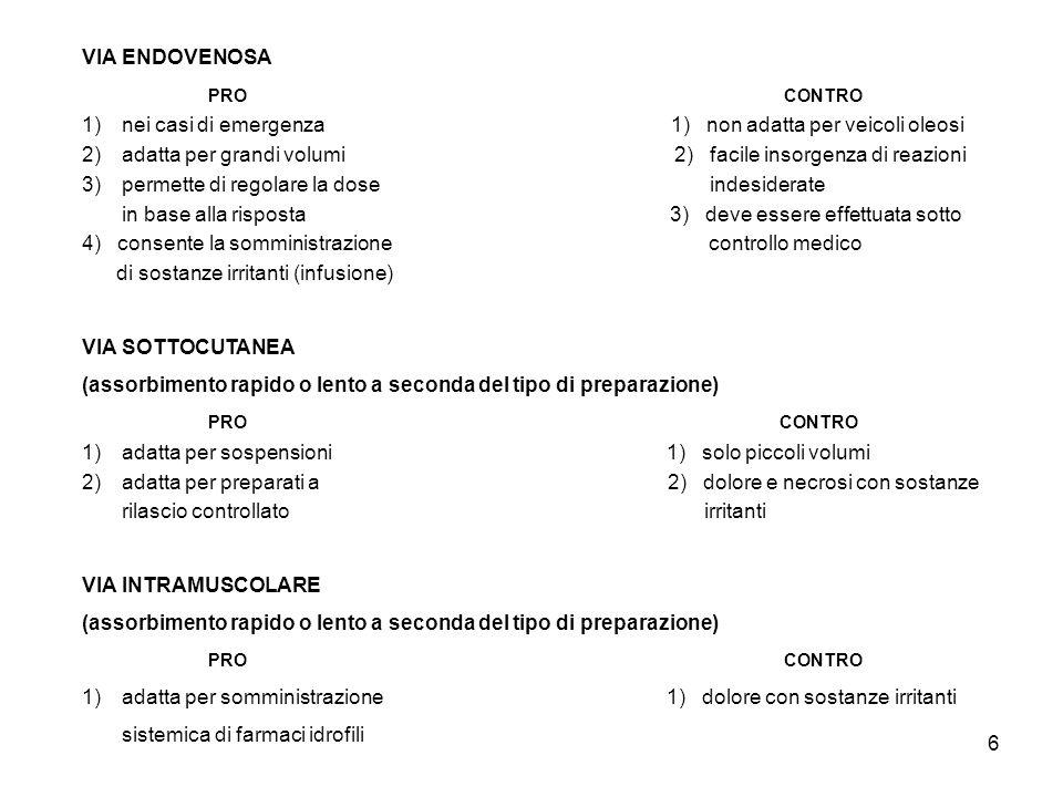 6 VIA ENDOVENOSA PRO CONTRO 1)nei casi di emergenza 1) non adatta per veicoli oleosi 2)adatta per grandi volumi 2) facile insorgenza di reazioni 3)per