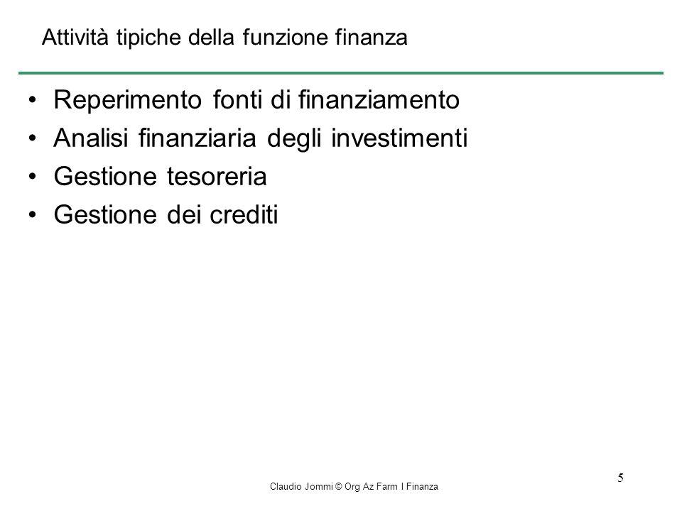 Claudio Jommi © Org Az Farm I Finanza 16 Metodo del V.A.N.