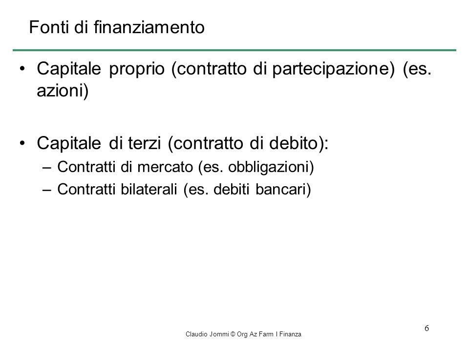Claudio Jommi © Org Az Farm I Finanza 6 Fonti di finanziamento Capitale proprio (contratto di partecipazione) (es.