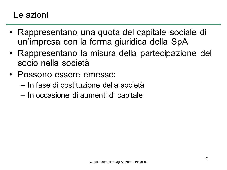 Claudio Jommi © Org Az Farm I Finanza 18 La gestione della tesoreria La gestione della tesoreria riguarda lequilibrio nel tempo delle entrate e delle uscite di cassa.