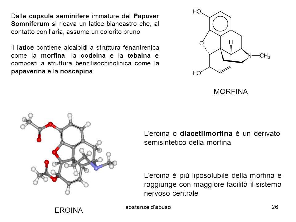 sostanze d abuso26 Dalle capsule seminifere immature del Papaver Somniferum si ricava un latice biancastro che, al contatto con laria, assume un colorito bruno Il latice contiene alcaloidi a struttura fenantrenica come la morfina, la codeina e la tebaina e composti a struttura benzilisochinolinica come la papaverina e la noscapina Leroina o diacetilmorfina è un derivato semisintetico della morfina Leroina è più liposolubile della morfina e raggiunge con maggiore facilità il sistema nervoso centrale MORFINA EROINA