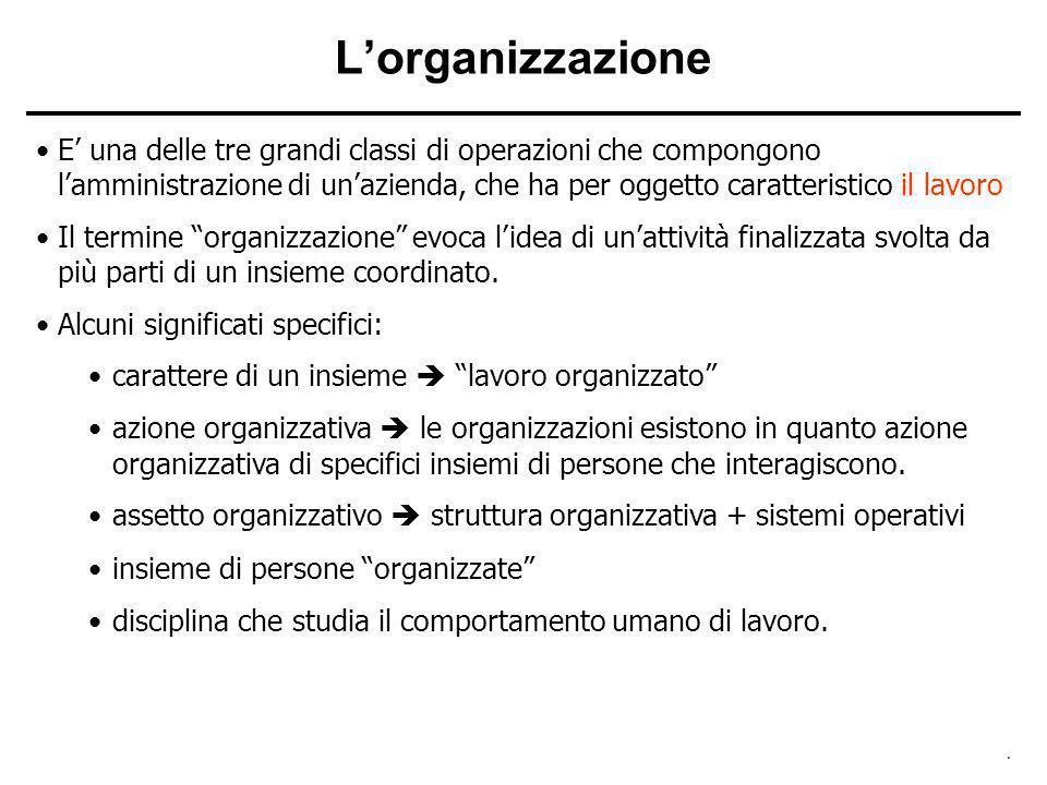 . Lorganizzazione E una delle tre grandi classi di operazioni che compongono lamministrazione di unazienda, che ha per oggetto caratteristico il lavor