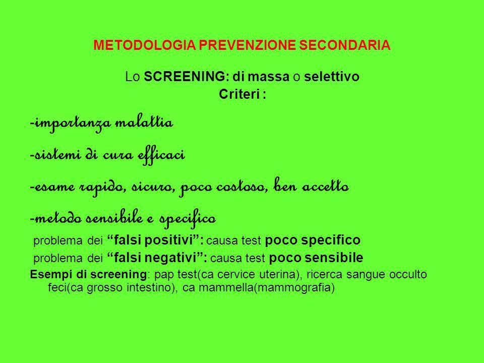 METODOLOGIA PREVENZIONE SECONDARIA Lo SCREENING: di massa o selettivo Criteri : -importanza malattia -sistemi di cura efficaci -esame rapido, sicuro,