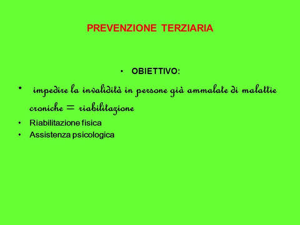 PREVENZIONE TERZIARIA OBIETTIVO: impedire la invalidità in persone già ammalate di malattie croniche = riabilitazione Riabilitazione fisica Assistenza