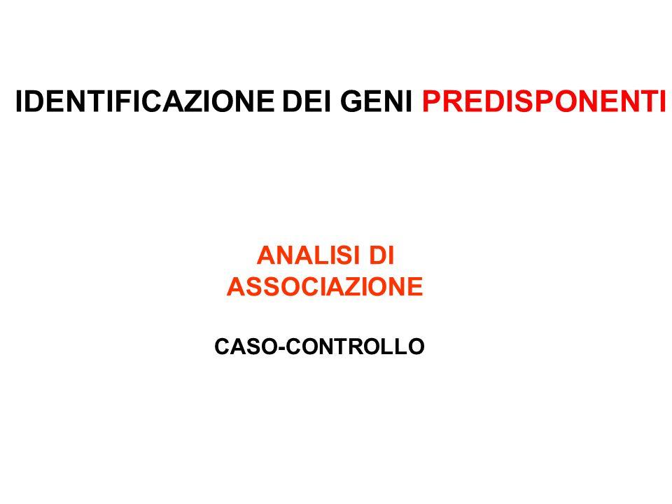 ANALISI DI ASSOCIAZIONE CASO-CONTROLLO IDENTIFICAZIONE DEI GENI PREDISPONENTI