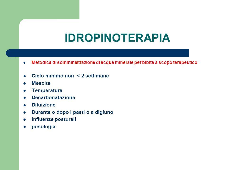 IDROPINOTERAPIA Metodica di somministrazione di acqua minerale per bibita a scopo terapeutico Ciclo minimo non < 2 settimane Mescita Temperatura Decar