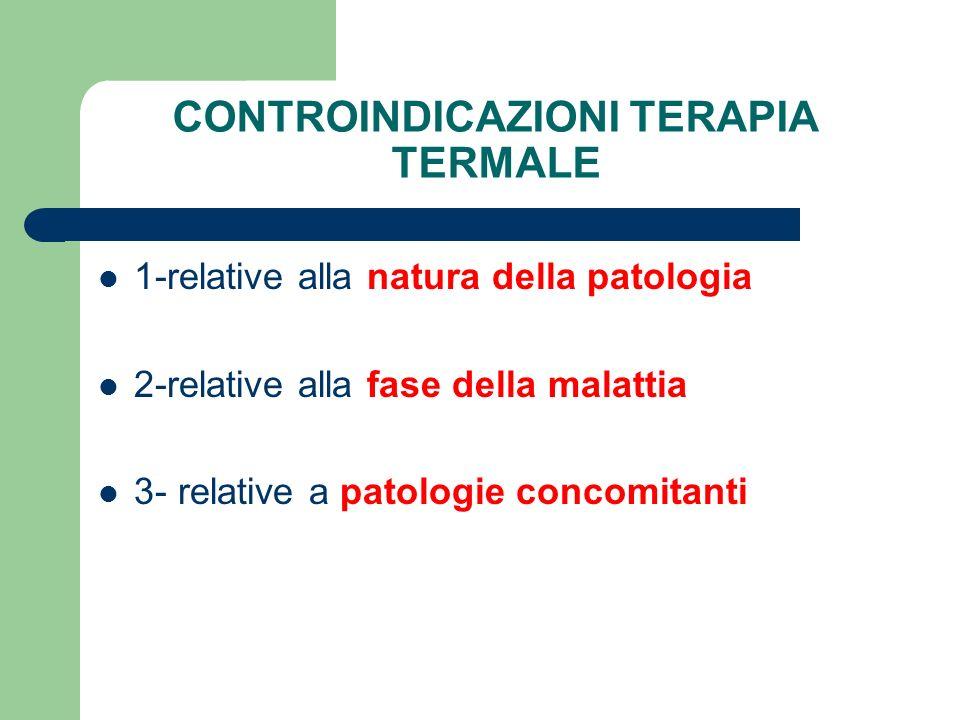 CONTROINDICAZIONI TERAPIA TERMALE 1-relative alla natura della patologia 2-relative alla fase della malattia 3- relative a patologie concomitanti