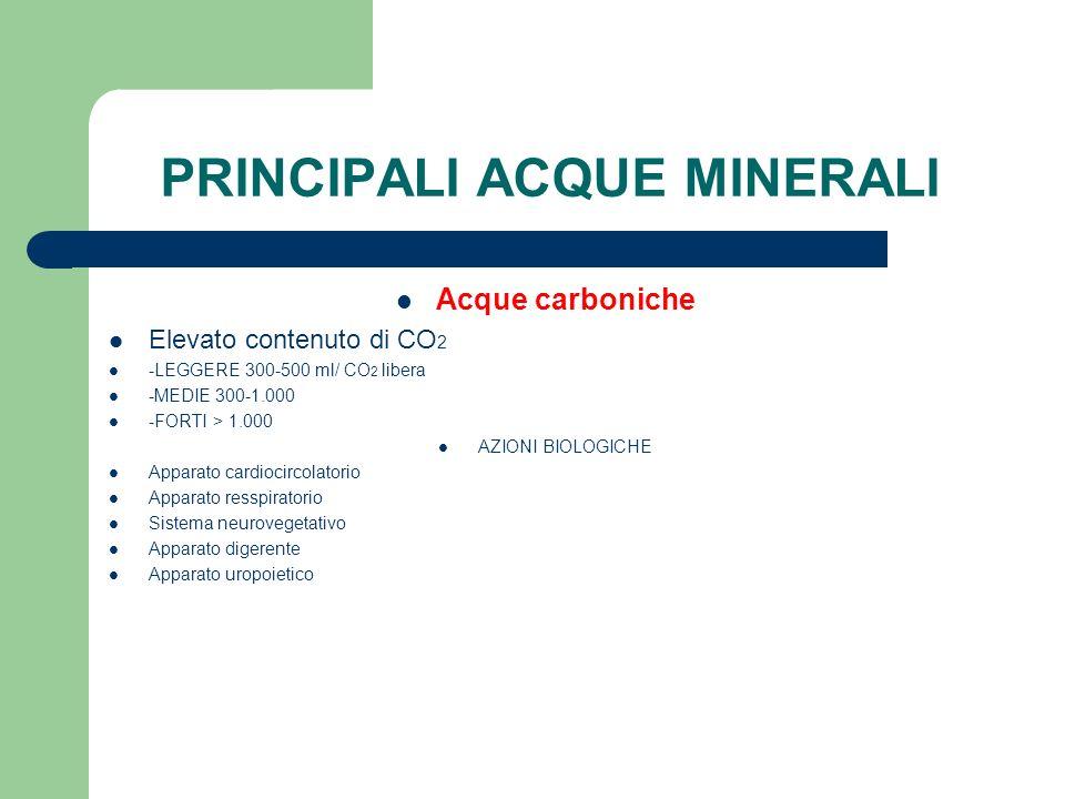 PRINCIPALI ACQUE MINERALI Acque carboniche Elevato contenuto di CO 2 -LEGGERE 300-500 ml/ CO 2 libera -MEDIE 300-1.000 -FORTI > 1.000 AZIONI BIOLOGICH