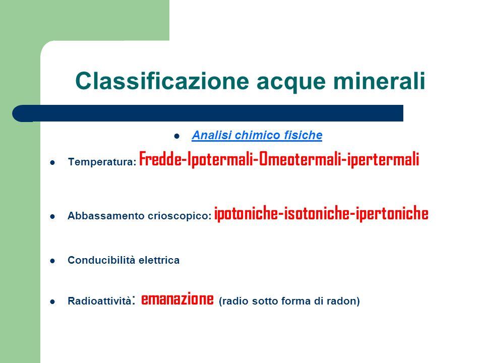 Classificazione acque minerali Analisi chimico fisiche Temperatura: Fredde-Ipotermali-Omeotermali-ipertermali Abbassamento crioscopico: ipotoniche-iso