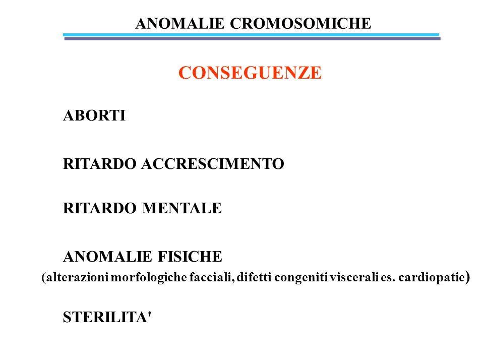 Anomalie cromosomiche anomalie di numero: dovute a non disgiunzione meiotica (correlazione con età madre) anomalie di struttura: dovute a rotture seguite da riparazione errata (agenti chimici, fisici, virus)