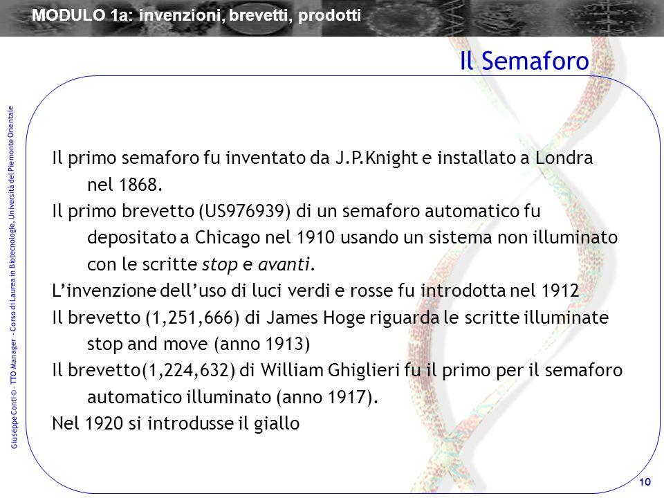 10 Giuseppe Conti © – TTO Manager - Corso di Laurea in Biotecnologie, Università del Piemonte Orientale Il primo semaforo fu inventato da J.P.Knight e