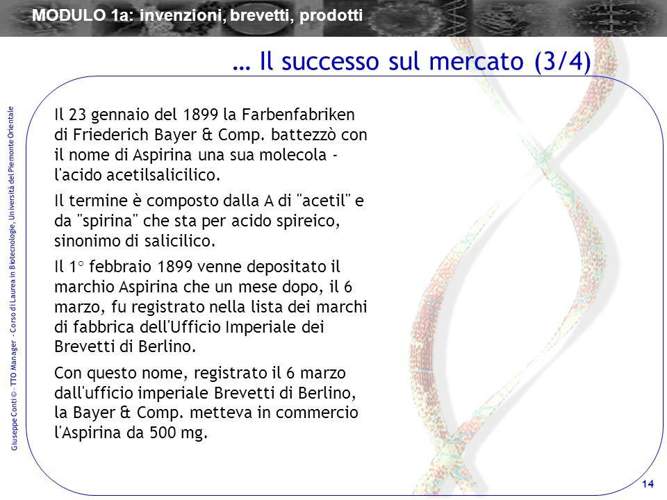 14 Giuseppe Conti © – TTO Manager - Corso di Laurea in Biotecnologie, Università del Piemonte Orientale Il 23 gennaio del 1899 la Farbenfabriken di Fr