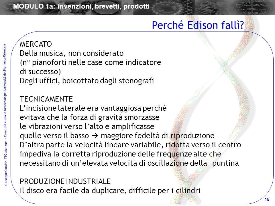 18 Giuseppe Conti © – TTO Manager - Corso di Laurea in Biotecnologie, Università del Piemonte Orientale MERCATO Della musica, non considerato (n° pian