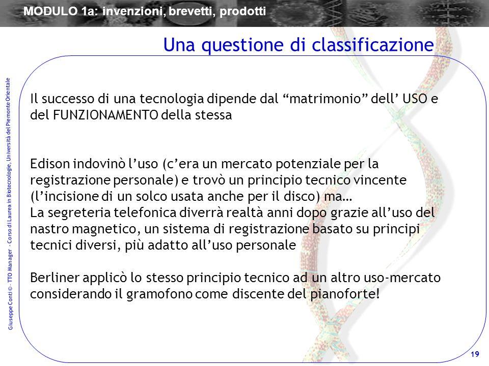19 Giuseppe Conti © – TTO Manager - Corso di Laurea in Biotecnologie, Università del Piemonte Orientale Il successo di una tecnologia dipende dal matr