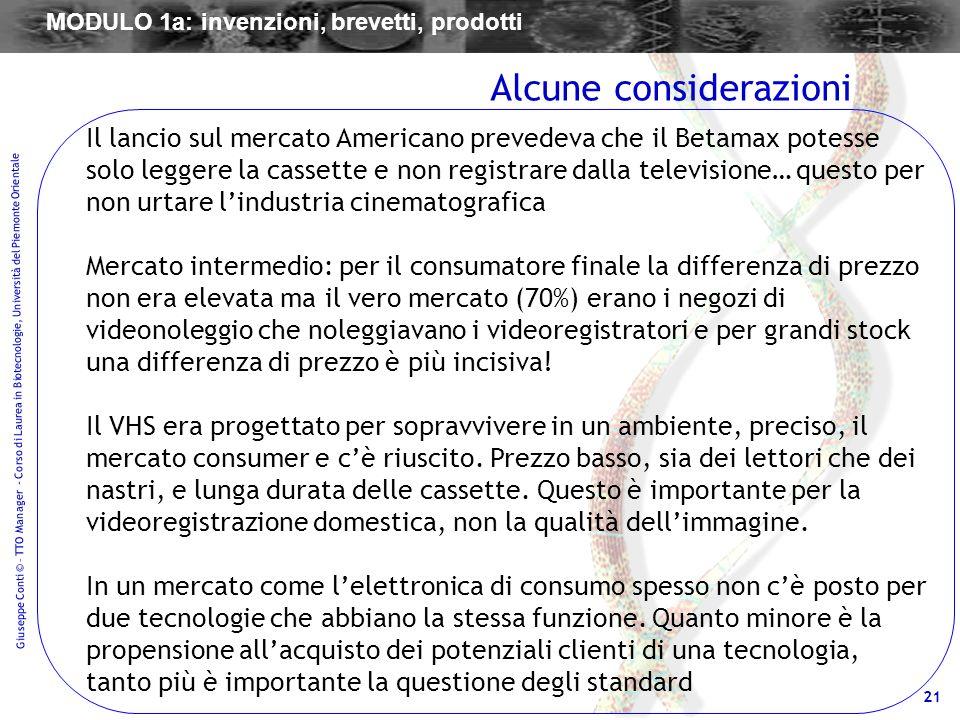 21 Giuseppe Conti © – TTO Manager - Corso di Laurea in Biotecnologie, Università del Piemonte Orientale Il lancio sul mercato Americano prevedeva che