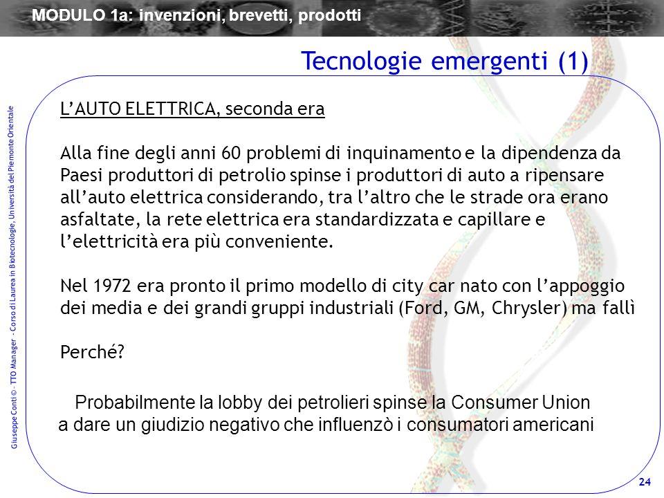 24 Giuseppe Conti © – TTO Manager - Corso di Laurea in Biotecnologie, Università del Piemonte Orientale LAUTO ELETTRICA, seconda era Alla fine degli a