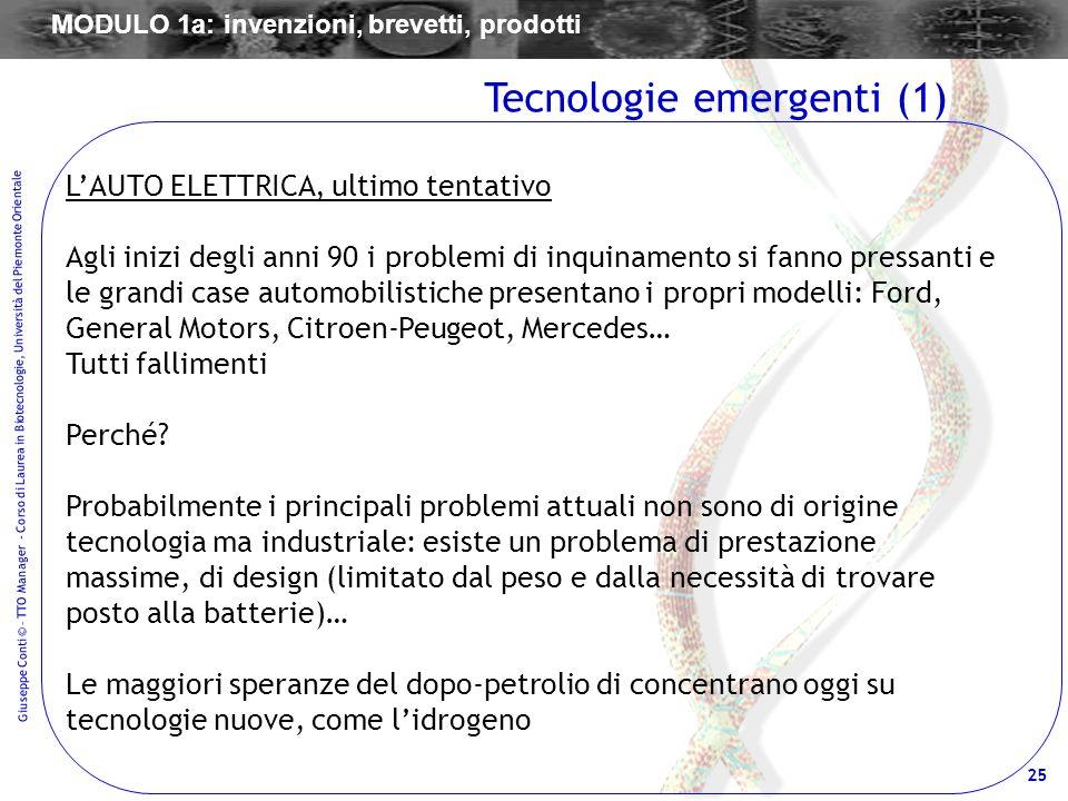 25 Giuseppe Conti © – TTO Manager - Corso di Laurea in Biotecnologie, Università del Piemonte Orientale LAUTO ELETTRICA, ultimo tentativo Agli inizi d