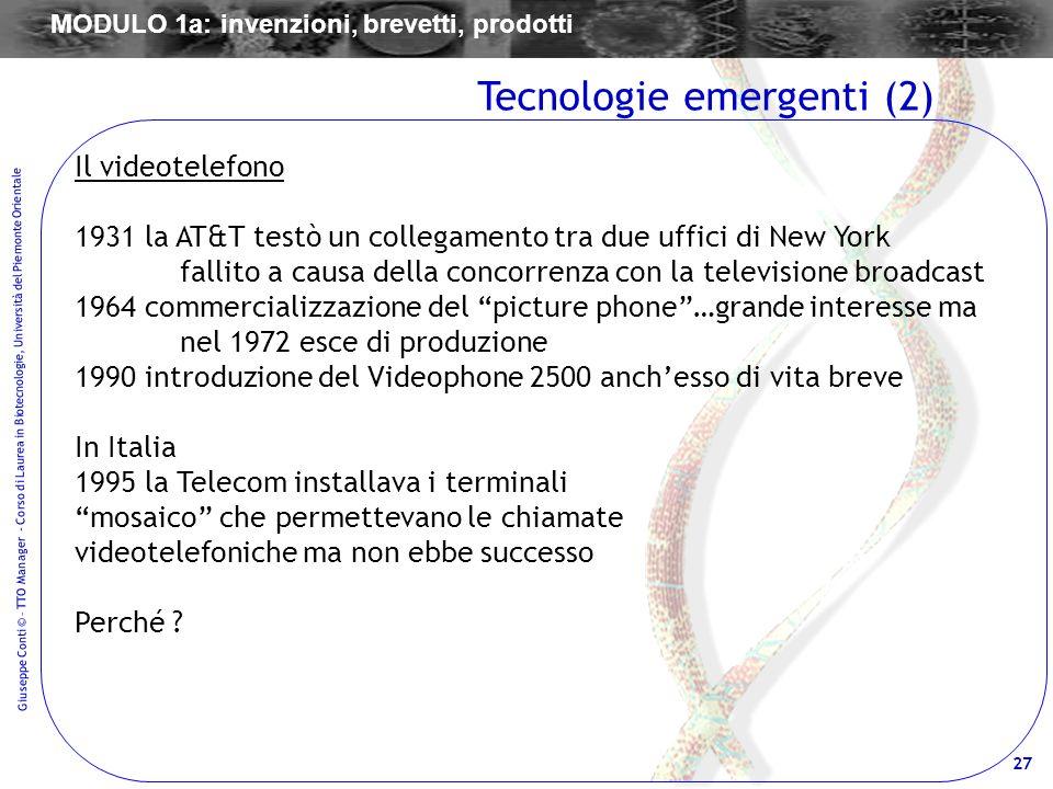 27 Giuseppe Conti © – TTO Manager - Corso di Laurea in Biotecnologie, Università del Piemonte Orientale Il videotelefono 1931 la AT&T testò un collega