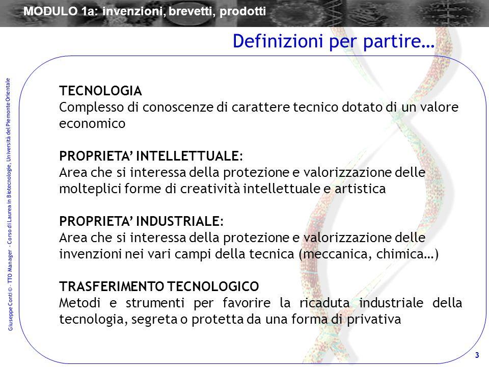 3 Giuseppe Conti © – TTO Manager - Corso di Laurea in Biotecnologie, Università del Piemonte Orientale TECNOLOGIA Complesso di conoscenze di carattere
