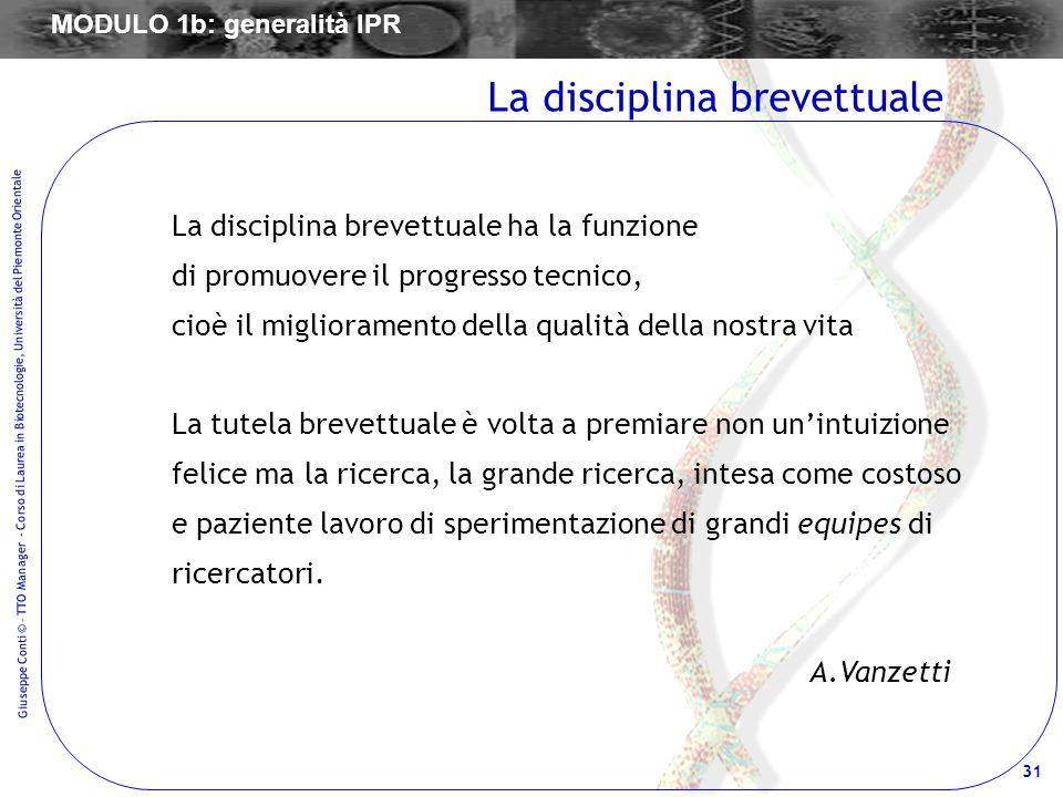 31 Giuseppe Conti © – TTO Manager - Corso di Laurea in Biotecnologie, Università del Piemonte Orientale La disciplina brevettuale La disciplina brevet