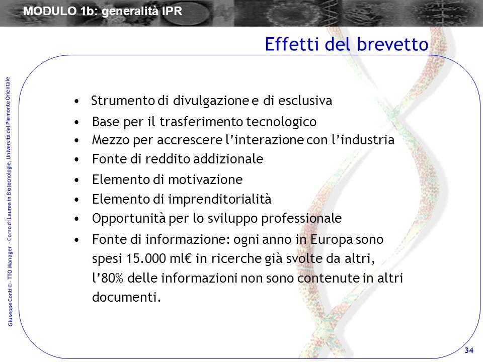 34 Giuseppe Conti © – TTO Manager - Corso di Laurea in Biotecnologie, Università del Piemonte Orientale Strumento di divulgazione e di esclusiva Base