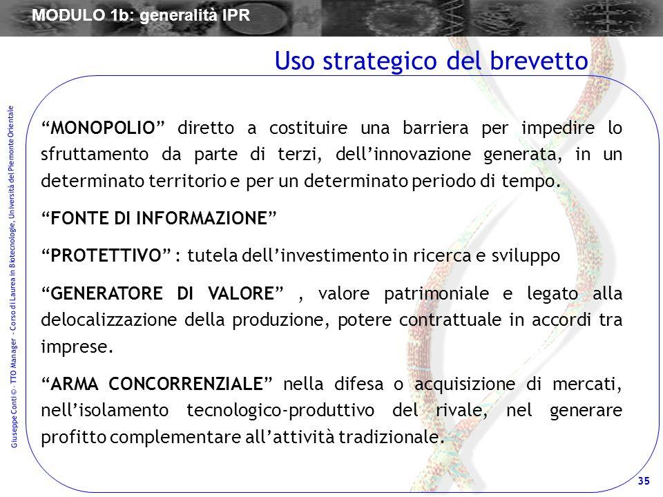 35 Giuseppe Conti © – TTO Manager - Corso di Laurea in Biotecnologie, Università del Piemonte Orientale MONOPOLIO diretto a costituire una barriera pe