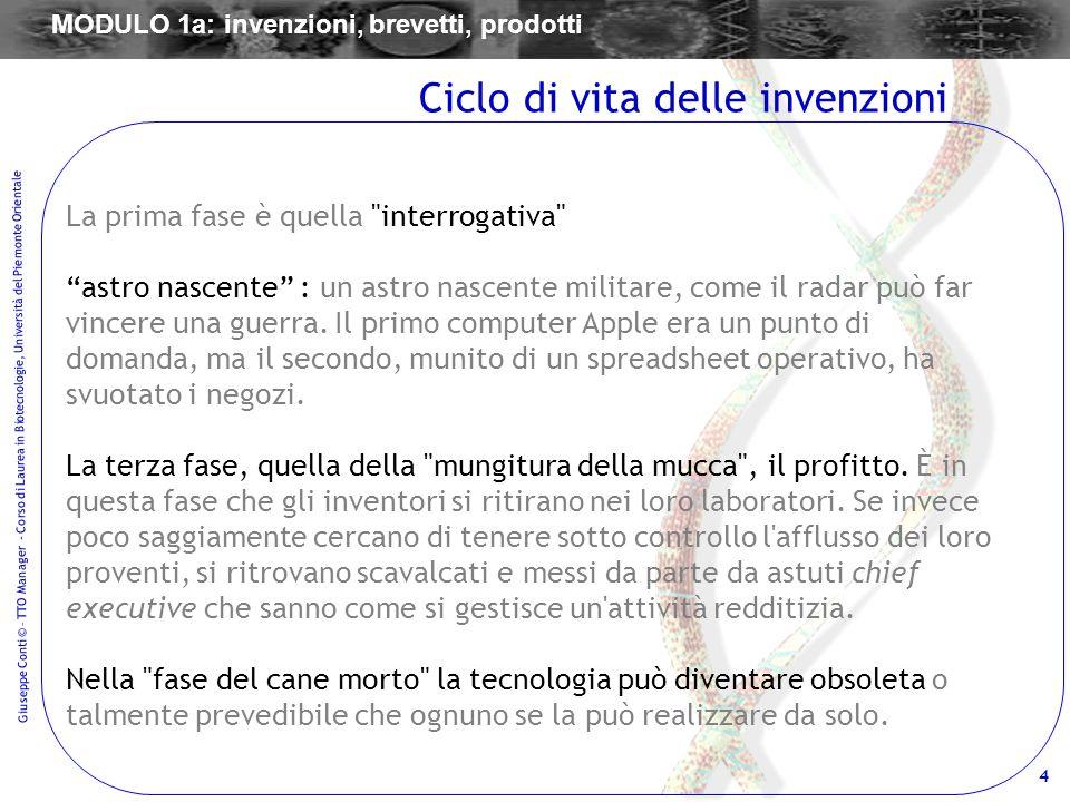 4 Giuseppe Conti © – TTO Manager - Corso di Laurea in Biotecnologie, Università del Piemonte Orientale La prima fase è quella