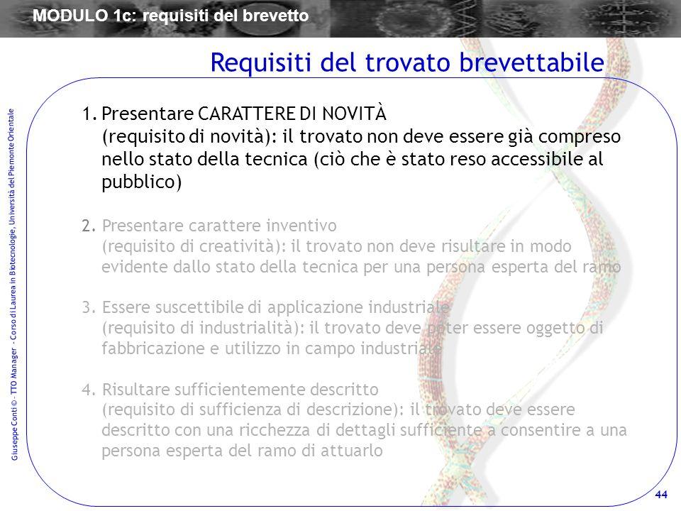 44 Giuseppe Conti © – TTO Manager - Corso di Laurea in Biotecnologie, Università del Piemonte Orientale 1.Presentare CARATTERE DI NOVITÀ (requisito di